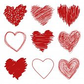 Hand drawn scribble sketch hearts