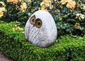 Owl sculpture in a Rose Garden
