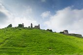 Ruins of Corfe Castle Dorset England built by William the Conqueror in 11th century