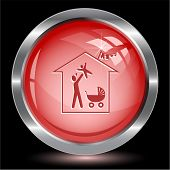 Family home. Internet button. Vector illustration.