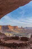 stock photo of cave-dweller  - Anasazi Indian Ruins At False Kiva Canyonlands - JPG