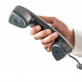 Male Hand Holding A Telephone Receiver