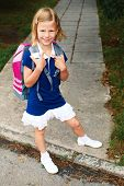 Schoolgirl Is On The Way To School For The First Time