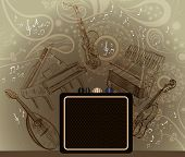 background with musical instruments
