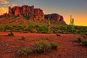 stock photo of superstition mountains  - Sunset view of the desert and mountains near Phoenix, Arizona, USA