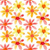 Colorful watercolor flowers - seamless pattern