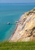 Alum Bay beach Isle of Wight next to the Needles tourist attraction