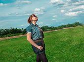 Spring Meadow Woman Enjoying Nature