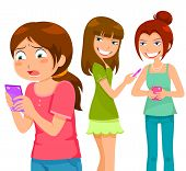pic of peer-pressure  - girl being bullying by her peers through mobile  phone - JPG