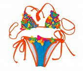 Orange With Blue Swimsuit With A Pattern Of A Butterfly.