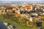 KRAKOW, POLAND - OCT 20, 2013: View of Royal Wawel castle with park. The monument to the history of
