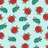 Seamless Lady Bug Illustration Background Pattern