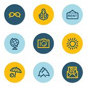 Travel web icon set 5, blue and yellow circle buttons