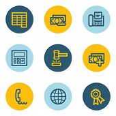 Finance web icon set 2, blue and yellow circle buttons