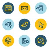 Internet web icon set 2, blue and yellow circle buttons