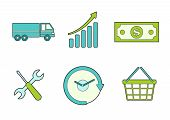 Business icons for commercial shipping