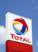 Dusseldorf, Germany - June 2, 2011: Total sign identifying a gas station. Total S.A. is a French mul