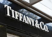 Dusseldorf, Germany - August 20, 2011: Tiffany and Co. logo sign on their store on Koenigsallee. Tif
