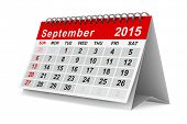 2015 year calendar. September. Isolated 3D image