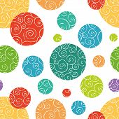 Seamless pattern with colorful doodled balls