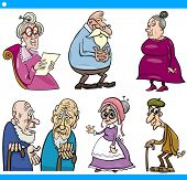 Seniors People Set Cartoon Illustration