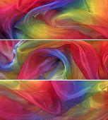 3 x Vivid rainbow chiffon banners