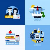 Modern flat vector concept of educational elements for websites and mobile apps