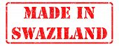 Made in Swaziland - inscription on Red Rubber Stamp.