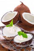 Coconut ice creams in coco shells