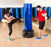 Boxing aerobox couple training at ftness gym workout