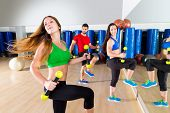 dance cardio people group training at fitness gym workout exercise