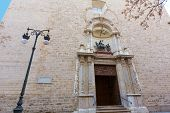 Valencia San Martin church facade in San Vicente street of Spain