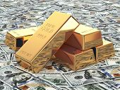 Gold ingots on background from dollar banknotes. 3d