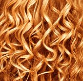 image of perm  - Curly Red hair closeup - JPG