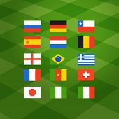 Flags of different national football teams