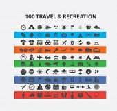 100 travel, recreation, vacation icons set, vector