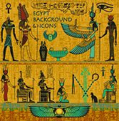 Set of Ancient Egyptian Deities, with Gold Egyptian Background, with Hieroglyphs - Set includes Isis