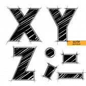 art sketched set of vector character classic black fonts, uppercase symbols, letters X, Y, Z, sign p