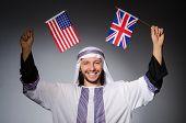 Arab man with united kingdom flag