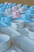 Group Of  Cups And Plates For Serving