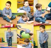 image of montessori school  - Little child boy playing in kindergarten in Montessori preschool Class - JPG