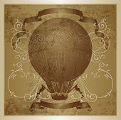 Hot air balloon.  Eps 10 file with transparencies and drop shadow(banner).All elements are separate,