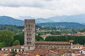 Cityscape of Lucca, with Tuscany landscape in background