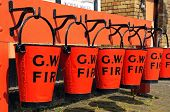 GWR red tin fire buckets, Hampton Loade.
