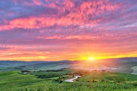 foto of farm landscape  - Beautiful Tuscany landscape at sunrise - JPG