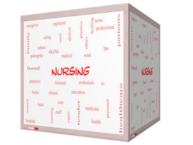 stock photo of rn  - Nursing Word Cloud Concept on a 3D cube Whiteboard with great terms such as licensed skills caring and more - JPG