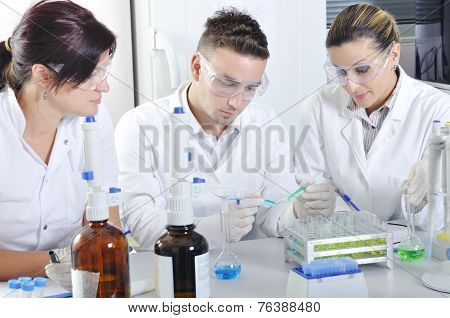 Постер, плакат: Attractive Young Phd Students Scientists Observing In The Laboratory, холст на подрамнике