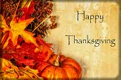 stock photo of fall decorations  - A Happy Thanksgiving card with autumn decorations and text - JPG