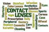 Contact Lenses word cloud on white background