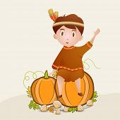 Creative Happy Thanksgiving Day celebrations concept with young tribe kid sitting on pumpkin and maple leaves on beige background.